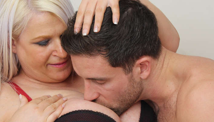 Busty Mom Titjob Lucky Young Man