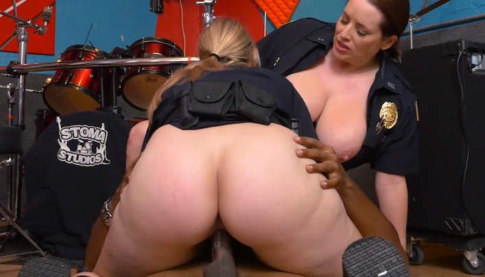 Black patrol milf police officers with big tits fuck a rapper