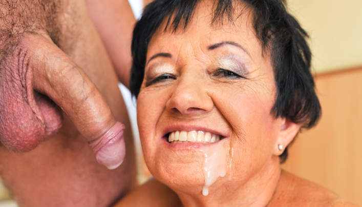 Short-haired Granny Facial : Lusty Grandmas Strikes Back