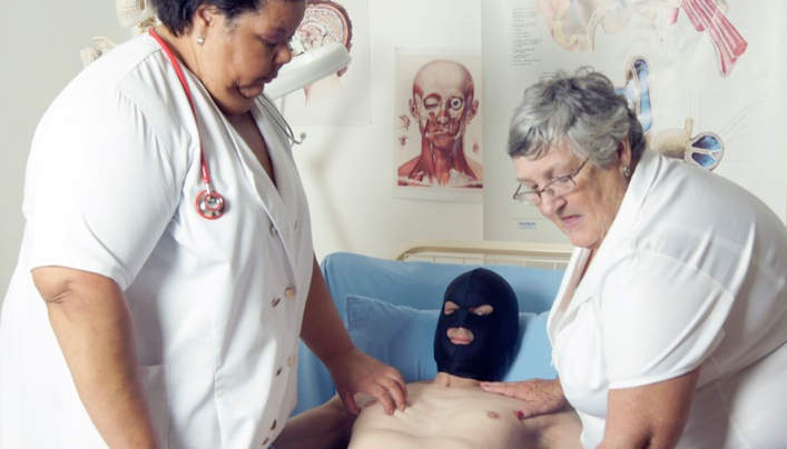 Granny Medical Fetish : Masked Young Man In Hospital