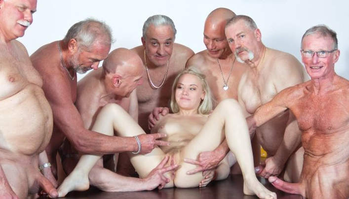 image Seven grandpas gabg bangs sexy young blonde at a meeting